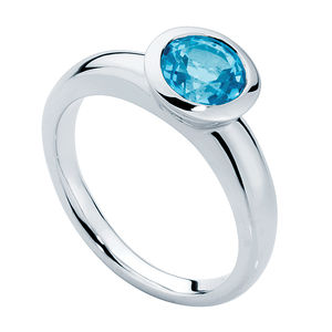 Aqua Sunburst Engagement Ring