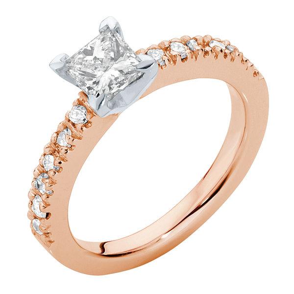 Princess Side Stones Engagement Ring Rose Gold