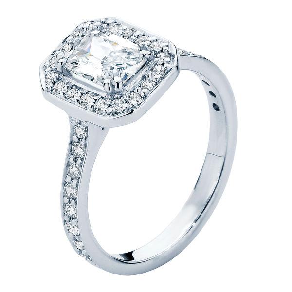 Emerald Halo Engagement Ring Platinum