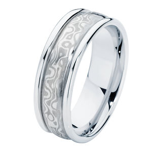 Mokume Side Bands Wedding Ring