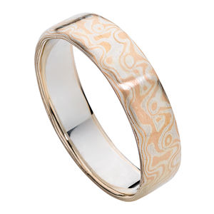 Mokume Rose & Silver Wedding Ring