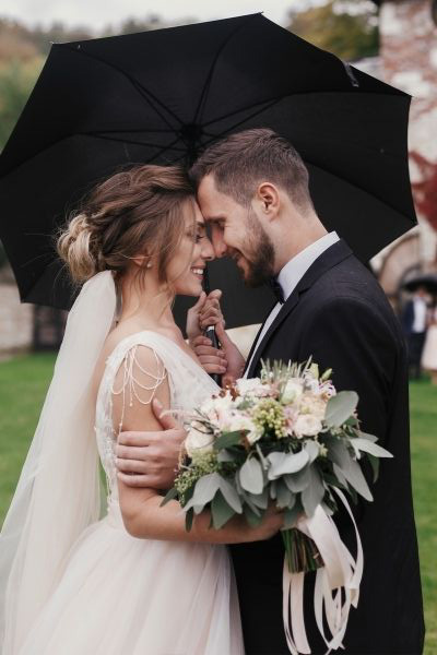 Bride and groom standing under an umbrella on a wedding day