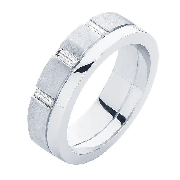 Baguette Mens Platinum Wedding Ring