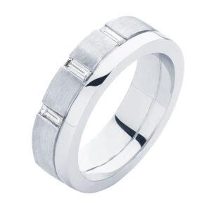 Baguette Mens White Gold Wedding Ring
