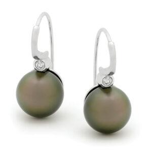 Black Pearl & Diamond Drops Earings