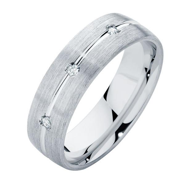 Brilliant Mens White Gold Wedding Ring