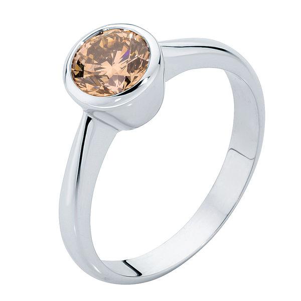 Champagne Platinum Engagement Ring