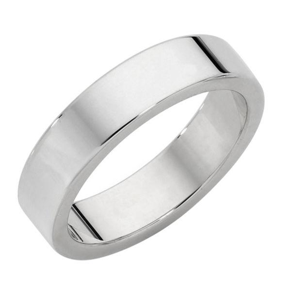 Classical Mens Flat Platinum Wedding Ring
