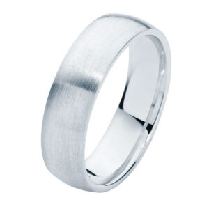 Classical Mens Matte White Gold Wedding Ring