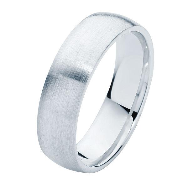 Classical Mens Matte White Gold Wedding Ring