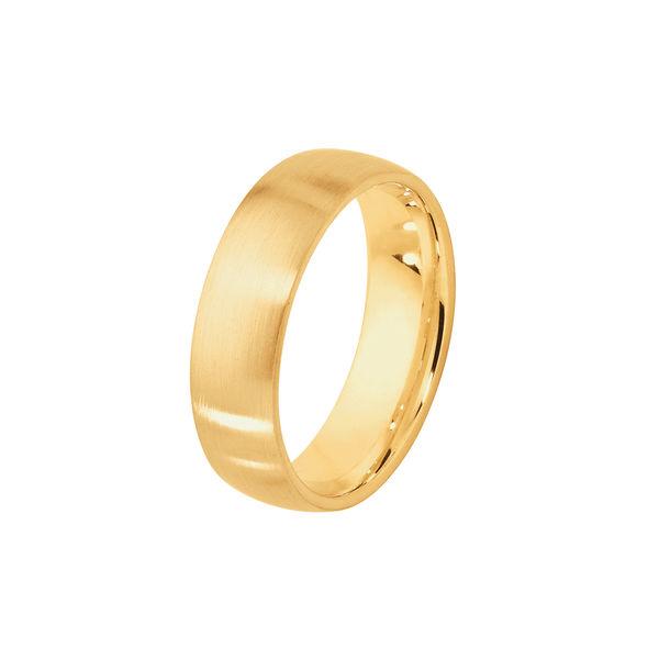 Classical Mens Matte Yellow Gold Wedding Ring