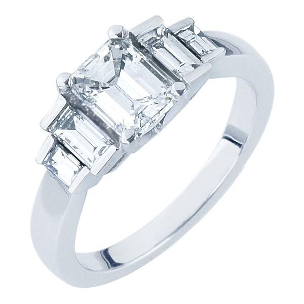 Deco Platinum Engagement Ring