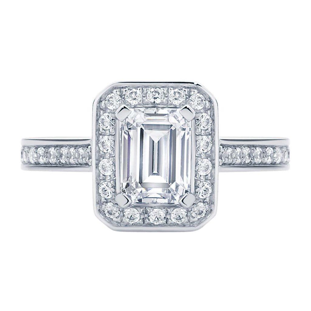 Emerald Serenity Platinum Engagement Ring