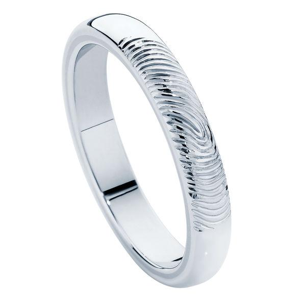 Fingerprint Ladies White Gold Wedding Ring