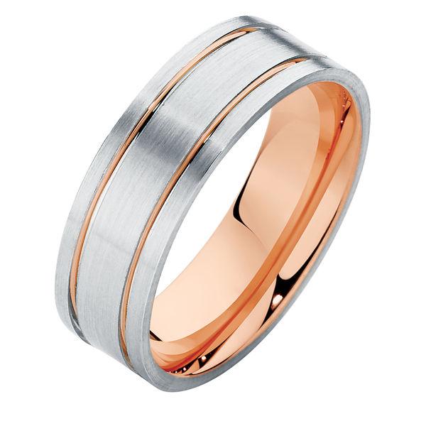 Flat Mens Two Tone II Rose Gold Wedding Ring