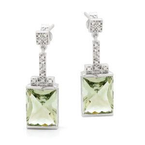 Green Amethyst Drops Earings