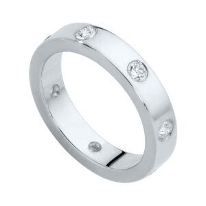 Gypsy Flat Profile White Gold Wedding Ring