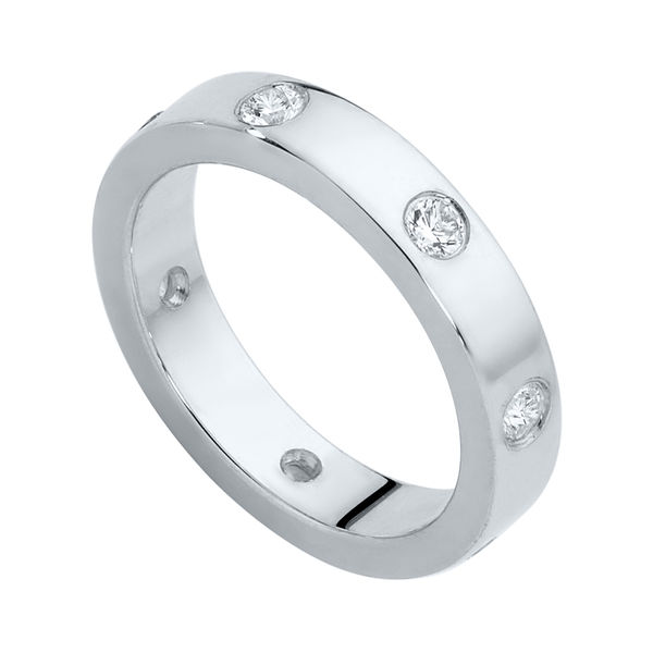 Gypsy Flat Profile White Gold Wedding Ring