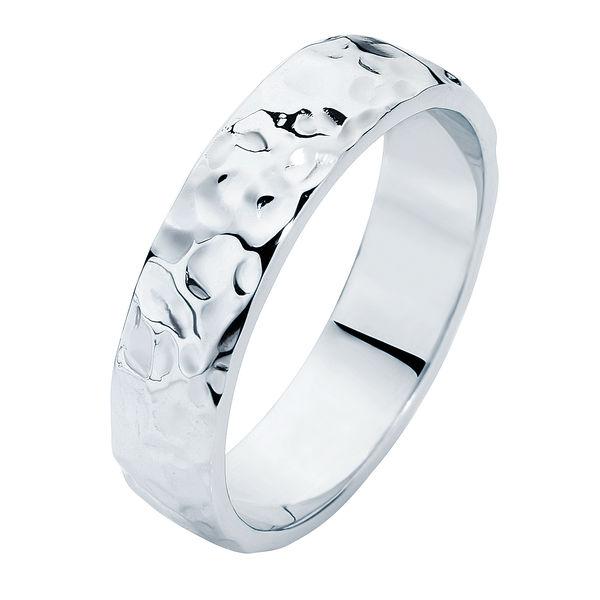 Heavy Hammertone White Gold Wedding Ring