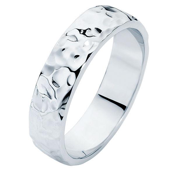 Heavy Hammertone Platinum Wedding Ring