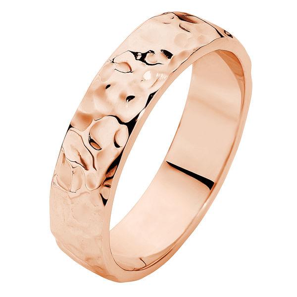Heavy Hammertone Rose Gold Wedding Ring