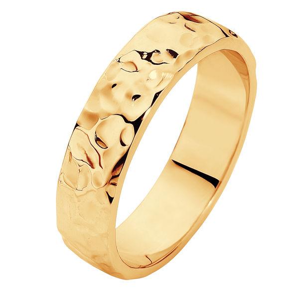 Heavy Hammertone Yellow Gold Wedding Ring