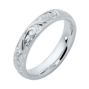 Inscription White Gold Wedding Ring