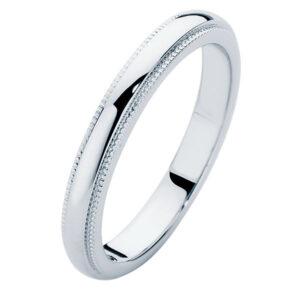 Ladies Millgrain White Gold Wedding Ring