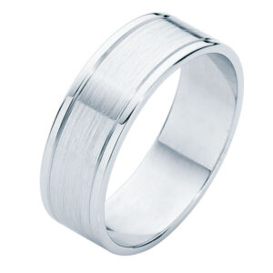 Matte Polished Flat Platinum Wedding Ring