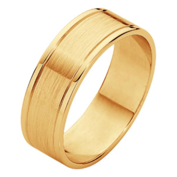 Matte Polished Flat Yellow Gold Wedding Ring