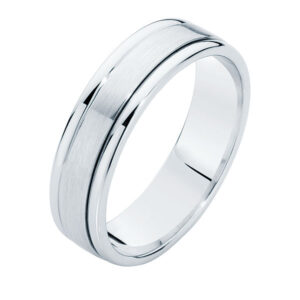 Matte Polished White Gold Wedding Ring