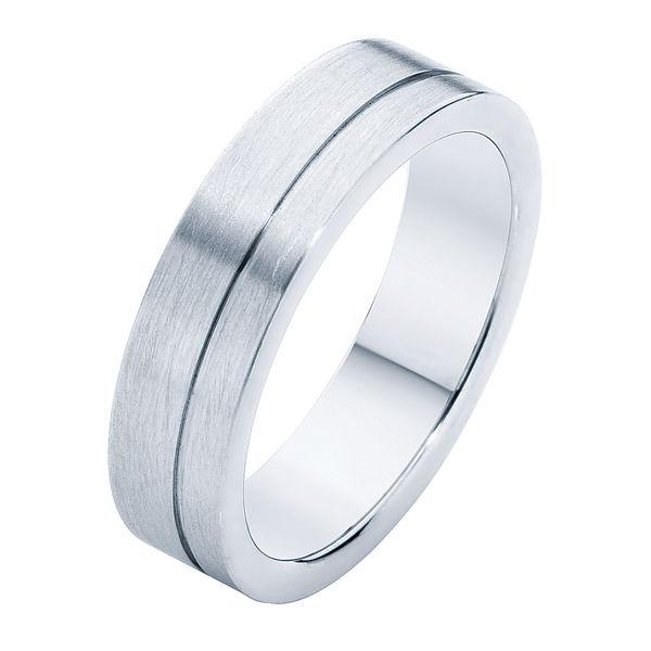 Matte with Side Line Platinum Wedding Ring