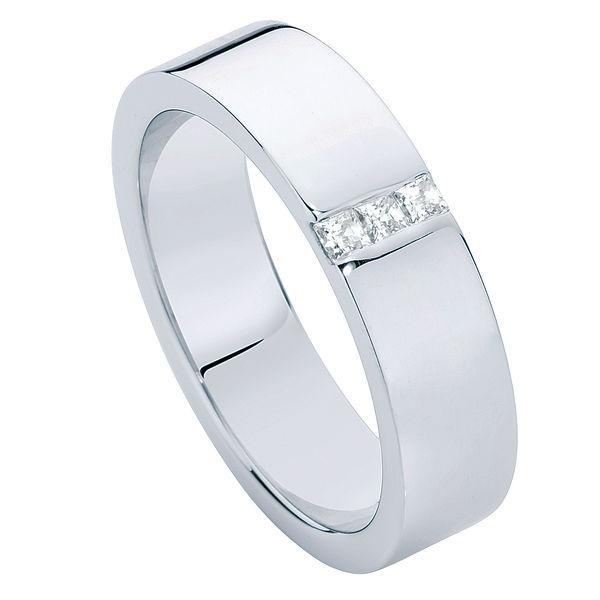 Mens Flat Diamond Platinum Wedding Ring