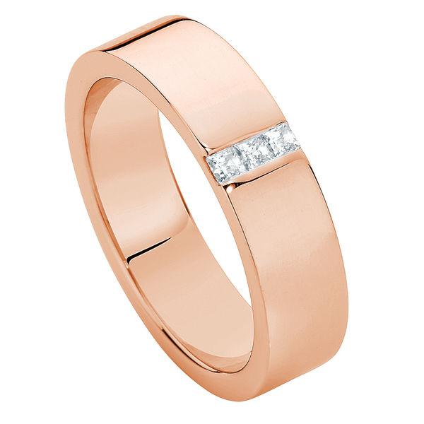 Mens Flat Diamond Rose Gold Wedding Ring