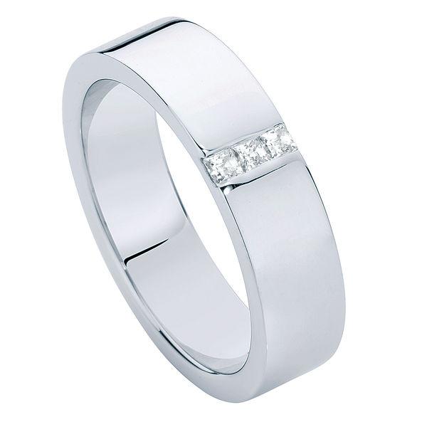 Mens Flat Diamond White Gold Wedding Ring
