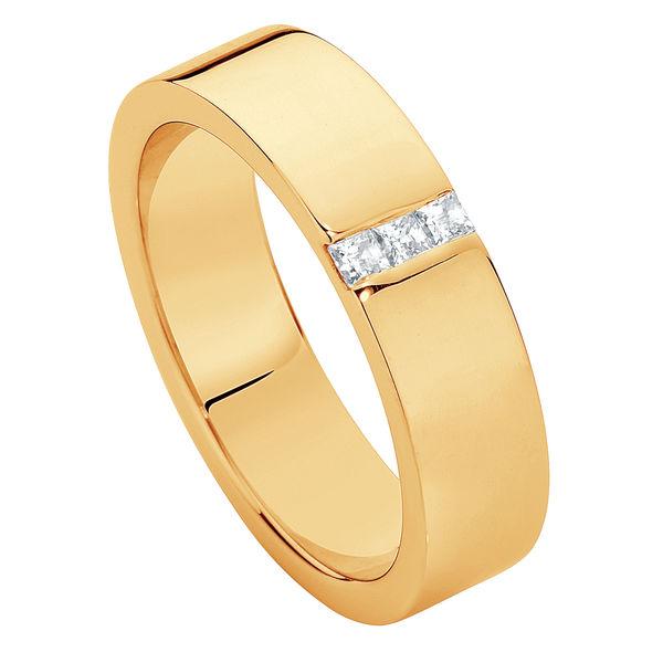 Mens Flat Diamond Yellow Gold Wedding Ring