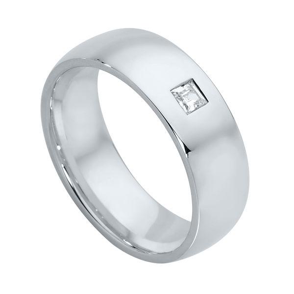 Mens Gypsy Set White Gold Wedding Ring