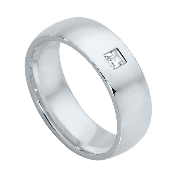 Mens Gypsy Set White Gold Wedding Ring