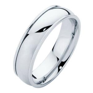 Mens Millgrain Platinum Wedding Ring
