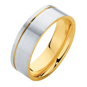 Mens Two Tone Flat White Gold Wedding Ring