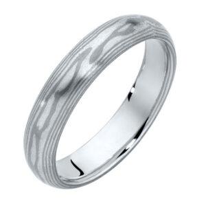 Mokume White and Silver Mokume and Other Wedding Ring