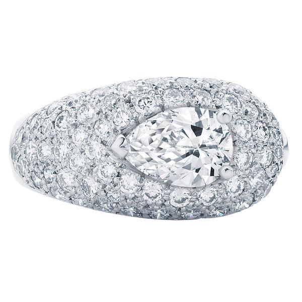 Pear Pave Platinum Engagement Ring