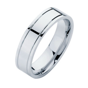 Polished Cut Lines White Gold Wedding Ring
