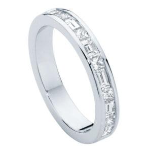 Princess and Baguette Platinum Wedding Ring