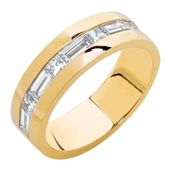 Princess Baguette Yellow Gold Wedding Ring
