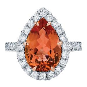 Rosetta Pear Platinum Engagement Ring