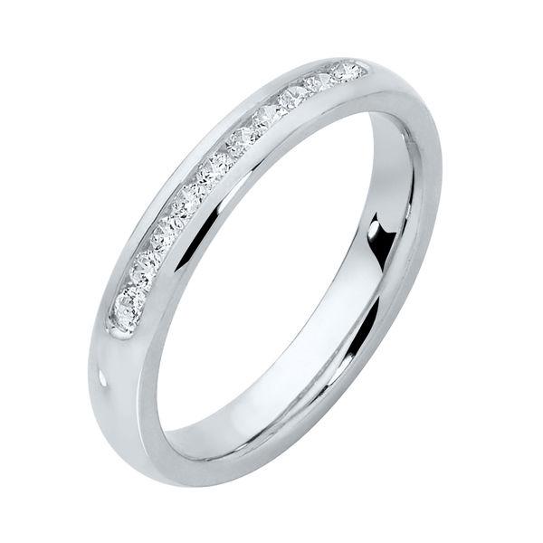 Round Channel Platinum Wedding Ring