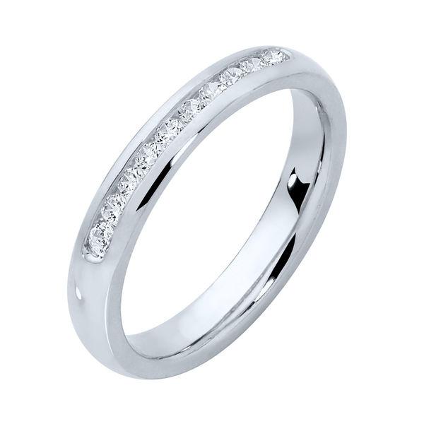 Round Channel White Gold Wedding Ring