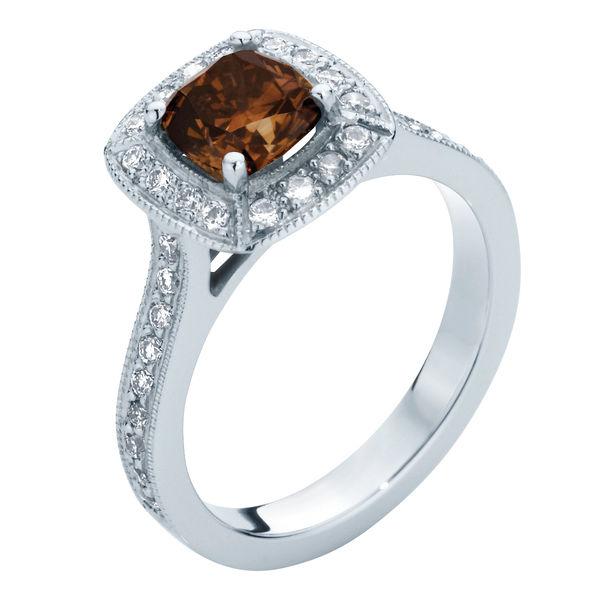 Serenity Cognac Platinum Engagement Ring