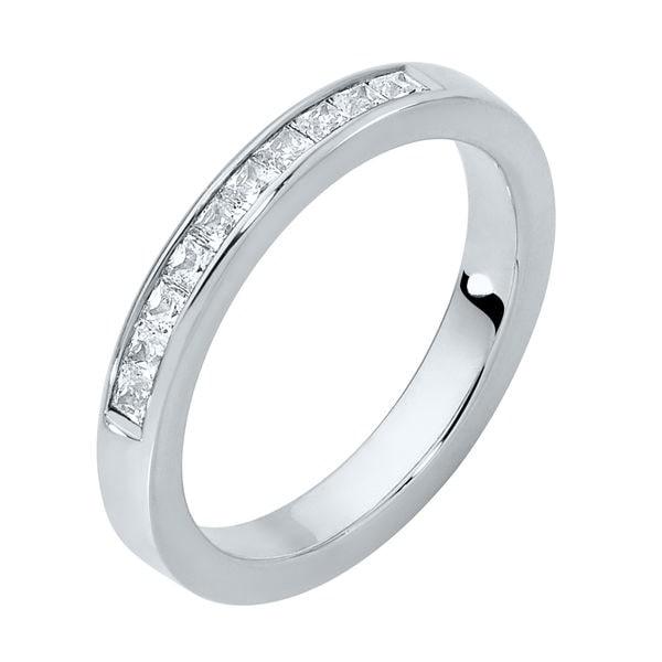 Square Channel Platinum Wedding Ring
